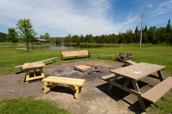 The bonfire pit at Upper Canada Camp, a centre for Christian Groups to book retreats in the Canadian wilderness